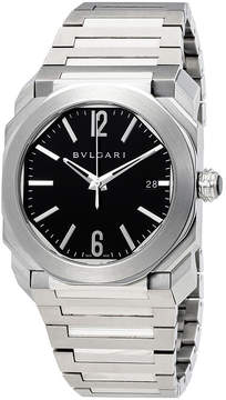 Bvlgari Octo Solotempo Black Dial Stainless Steel Men's Watch