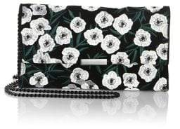 Loeffler Randall Tab Embroidered Denim Chain Clutch