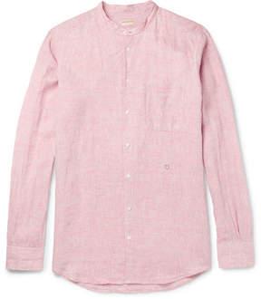 Massimo Alba Grandad-Collar Striped Linen Shirt