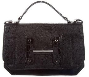 Halston Heritage Embossed Leather-Accented Satchel