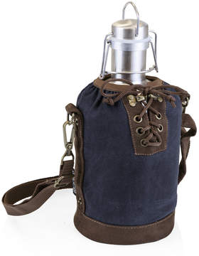 Picnic Time Navy & Brown Insulated Growler Tote & Steel Growler
