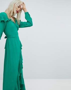 Asos Long Sleeve Ruffle Wrap Maxi Tea Dress