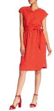 Anne Klein Open Collar Polka Dot Dress