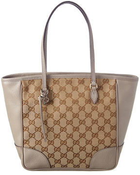 Gucci Gg Supreme Canvas & Leather Tote - BROWN - STYLE