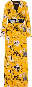 Emilio Pucci Belted Floral-print Crepe Gown - Saffron