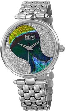Burgi Peacock Feather Dial Ladies Stainless Steel Crystal Watch