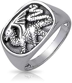 Dragon Optical Bling Jewelry Mens Oxidized Sterling Silver Ring.