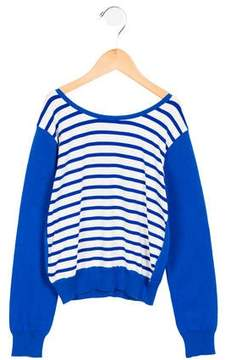 Junior Gaultier Girls' Striped Crew Neck Sweater w/ Tags
