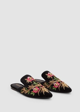 MANGO Embroidered floral shoes