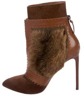 Francesco Russo Ponyhair Pointed-Toe Booties