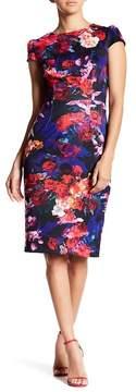 Betsey Johnson Cap Sleeve Floral Scuba Midi Dress