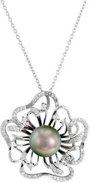 Bella Pearl Tahitian Pearl Flower Pendant Sterling Silver Necklace