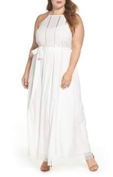 City Chic Lace Trim Swiss Dot Halter Maxi Dress