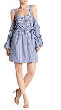 Alexia Admor Pinstripe Cold Shoulder Dress