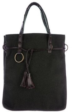 Dolce & Gabbana Leather-Trimmed Wool Tote - GREEN - STYLE
