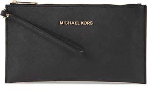 MICHAEL Michael Kors Jet Set saffiano leather clutch - BLACK - STYLE