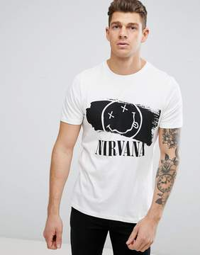 New Look T-Shirt With Nirvana Print In White