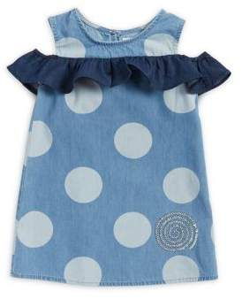 Flapdoodles Little Girl's Polka-Dot Cold-Shoulder Cotton Top