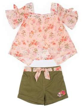 Little Lass Little Girl's Two-Piece Floral Top and Cotton Shorts Set