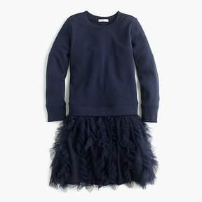 J.Crew Girls' ruffle tulle sweatshirt dress