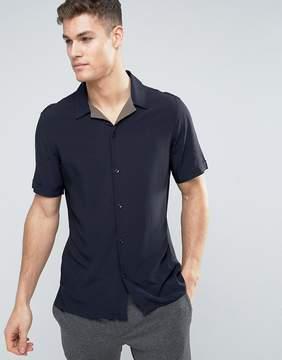 MANGO Man Short Sleeve Regular Fit Shirt In Navy