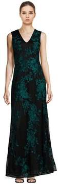 David Meister Floral Embroidered V-neck Gown.