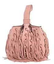 Roberto Cavalli Pink Nude Suede Eyelet Fringe Wristlet Bucket Bag