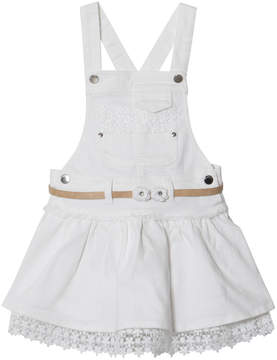 Mayoral White Lace Hem Dungaree Dress