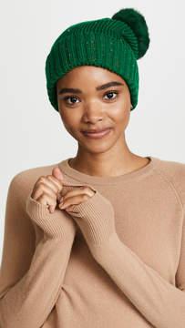 Adrienne Landau Knit Hat with Fur Pom Pom