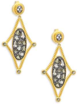 Freida Rothman Women's Crystal and Sterling Silver Drop Earrings
