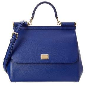 Dolce & Gabbana Sicily Large Dauphine Leather Satchel. - BLUE - STYLE