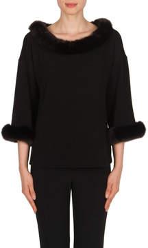Joseph Ribkoff Black Fur Sweater