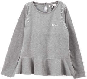 DKNY Heather Gray Embellished Peplum Top - Toddler & Girls