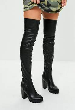 Missguided Black Cleated Sole Over The Knee Boots