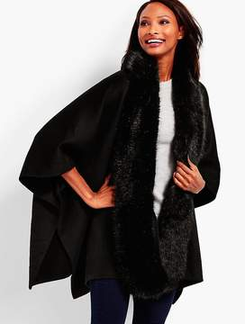 Talbots Faux Fur-Trimmed Double-Face Ruana