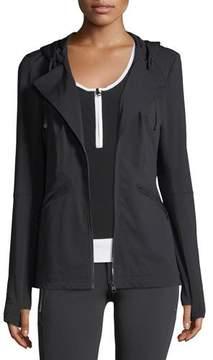 Blanc Noir Vibe Zip-Front Hooded Performance Jacket