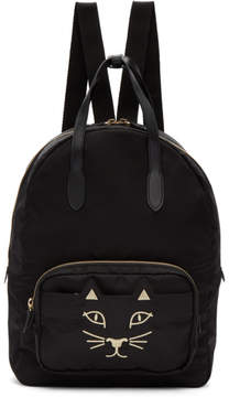 Charlotte Olympia Black Nylon Feline Backpack