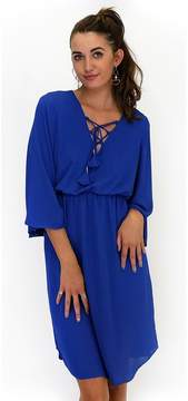 Everly Flutter By Blue Lace Up Dress