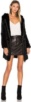 Adrienne Landau Knit Rabbit Fur Long Hoodie