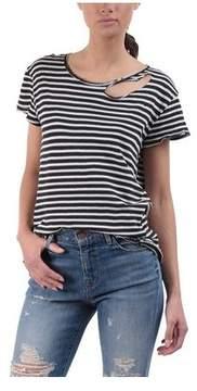 RtA Women's Nicola Distressed Striped T-Shirt