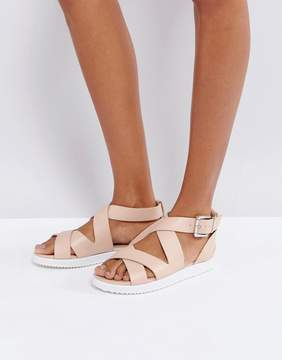 London Rebel Crossover Chunky Flat Sandal