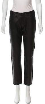 Rag & Bone Leather-Accented Mid-Rise Pants