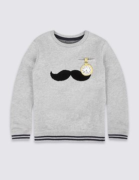 Marks and Spencer Cotton Rich Moustache Sweatshirt (3 Months - 6 Years)
