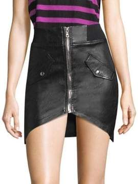 RtA Isla Leather Zip Skirt