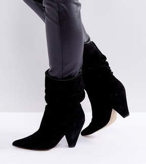 Asos CIANNA Wide Fit Suede Slouch Cone Heel Boots