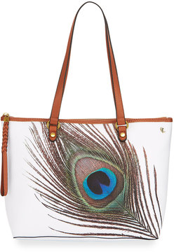 Elliott Lucca Ana Small Peacock Tote Bag, White