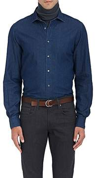 Boglioli Men's Herringbone-Print Denim Button-Front Shirt