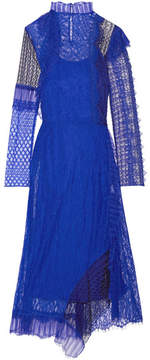 3.1 Phillip Lim Asymmetric Paneled Lace Midi Dress - Bright blue