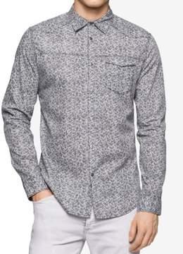 Calvin Klein Jeans Mens Big & Tall Printed Long Sleeve Button-Down Shirt