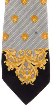 Gianni Versace Striped Medusa Print Silk Tie
